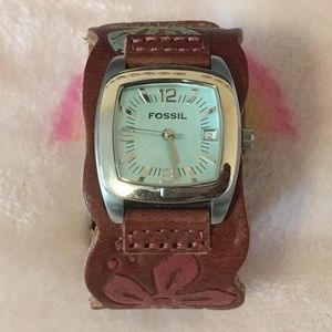Fossil Accessories - Fossil Genuine Leather Floral/Hawaiian Watch